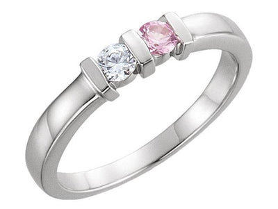 Two Birthstone Channel Set Mothers Ring*