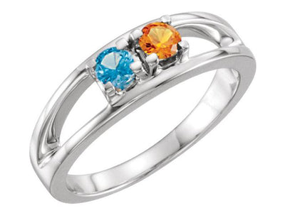 Two Birthstone Split Shank Mothers Ring* - MothersFamilyRings.com
