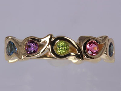 Unique Five Birthstone Mothers Ring By Christopher Michael - mothers family rings