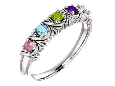 Uniquely detailed 6 stone mothers ring - mothers family rings