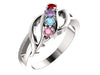 Wave Mothers Ring with Four Fine Natural Birthstones*