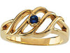 Wave Mothers Ring with One Fine Natural Birthstones