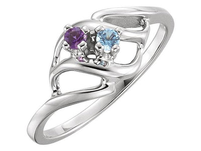 Wave Mothers Ring with Two Fine Natural Birthstones* - MothersFamilyRings.com