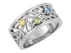 Wider 3 Stone Vine Pattern Mothers Ring - mothers family rings
