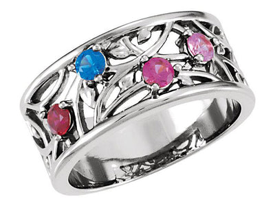 Wider 4 Stone Vine Pattern Mothers Ring- mothers family rings