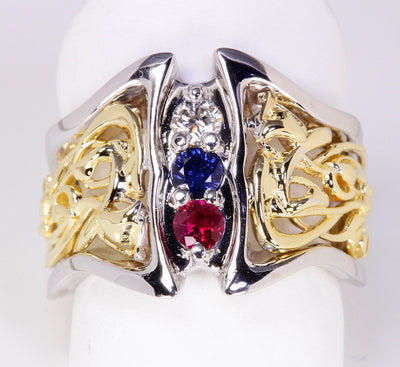 Art Nouveau Inspired 3 Birthstone Mothers Ring* Christopher Michael Design