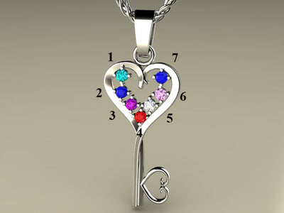 Seven Birthstone Key To Hearts Mothers Pendant* Christopher Michael Design
