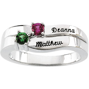 Personalized Engraved 2 Stone Silver Mothers Ring*