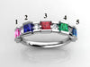 5 Birthstone Princess Mothers Ring by Christopher Michael with Diamond Accent*
