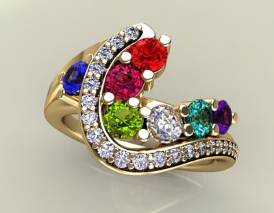 Seven Birthstone Custom Mothers Ring With Ideal Cut Diamonds*