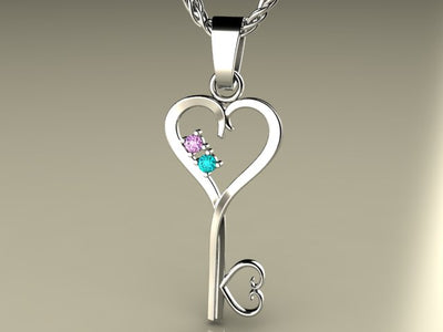 Two Birthstone Key To Hearts Mothers Pendant* Christopher Michael Design