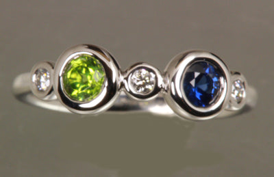 Bezeled Larger Round Two Birthstone Mothers Ring With Fine Diamonds* Designed by Christopher Michael