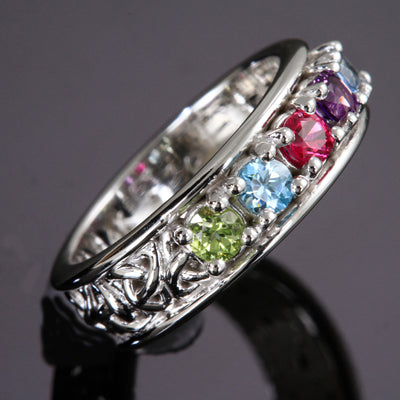 Christopher Michael designed Celtic Style Mothers Ring With Three 3mm Natural Birthstones*