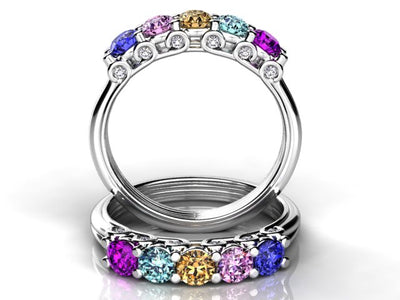 Larger 3.5 mm Five Birthstones Mothers Ring by Christopher Michael With Diamond Accent*