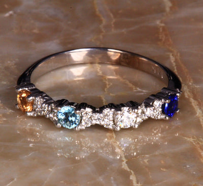 4 Birthstone Mothers Ring With .21 carats of Fine Diamonds by Christopher Michael*