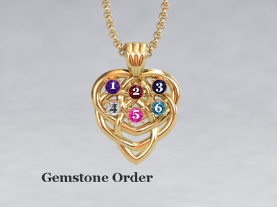 Celtic Mothers Birthstone Pendant 6 Stone* Christopher Michael Design