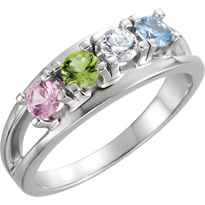 Four Birthstone Split Shank Mothers Ring*