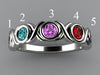 5 Stone Bezeled Hugs and Kisses Mothers Ring* Designed by Christopher Michael