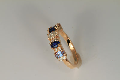 5 Stone Oval Birthstone Ring with Fine Diamonds Designed by Christopher Michael