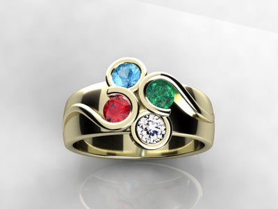 Larger Round Fine Natural Four Gem Mothers Ring* designed by Christopher Michael