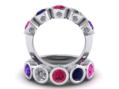 Christopher Michael Design with 5 Bezel Set Gemstones and Diamonds