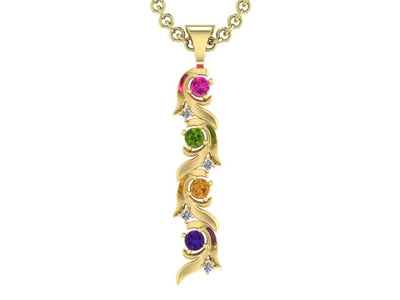 Christopher Michael Vine of Life Pendant Four Stone  with Diamonds*