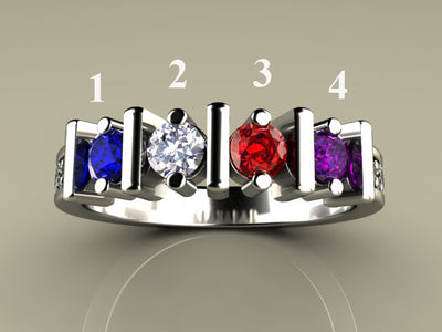 Original Christopher Michael Designed Four Birthstone Mothers Ring With Fine Cut Diamonds*