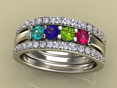 4 Birthstones Mothers Ring Flanked with Fine Diamond* Christopher Michael Design