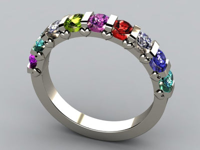 Christopher Michael Designed 9 Birthstone Mothers Ring 3mm With Heart Accent*