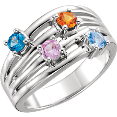 Modern Style 4 stone Mother's Ring with Larger Natural  Gemstones*