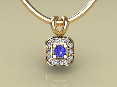 1 Birthstone Mothers Pendant with Diamonds Around by Christopher Michael* - MothersFamilyRings.com