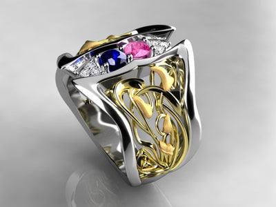 Art Nouveau Inspired 2 Birthstone Mothers Ring With Diamond* Christopher Michael Design