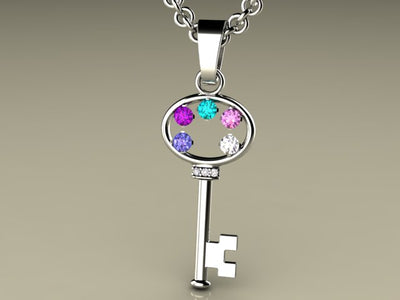 Key To My Heart Mother's Pendant with Five Birthstones*