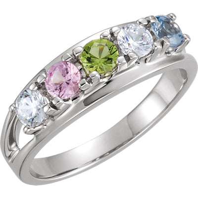 Five Birthstone Split Shank Mothers Ring*