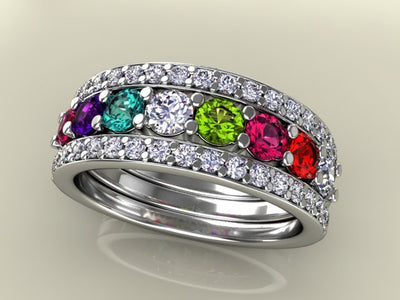 8 Birthstones Mothers Ring Flanked with Fine Diamond* Christopher Michael Design - MothersFamilyRings.com
