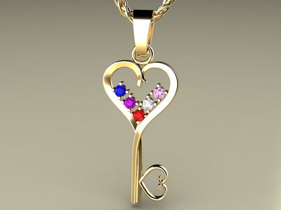 Five Birthstone Key To Hearts Mothers Pendant*