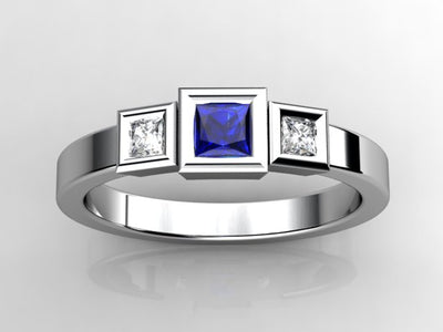 Christopher Michael Designed One Princess Birthstone Mothers Ring with Diamonds