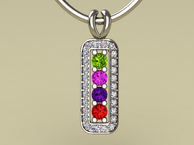 4 Birthstone Mothers Pendant with Diamonds Around by Christopher Michael*