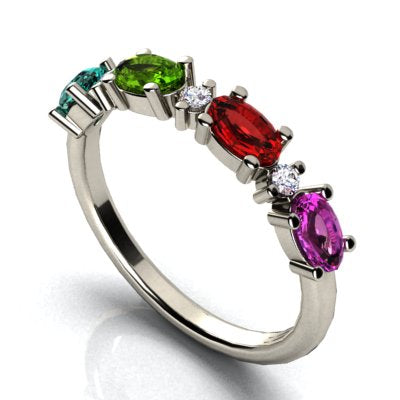 Christopher Michael Designed Ring With Oval Birthstones Set East to West*