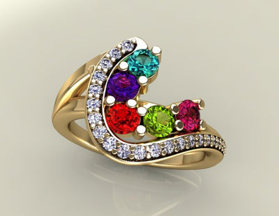 Five Birthstone Custom Mothers Ring With Fine Cut Diamonds* by Christopher Michael