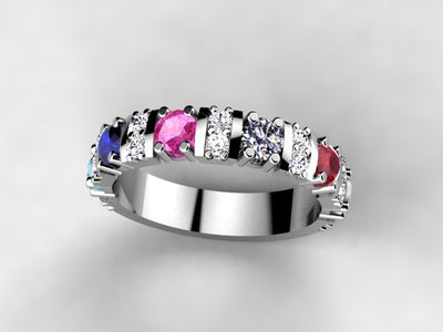 Our Most Popular Mothers ring with Five Larger 3.5 mm Gems by Christopher Michael*