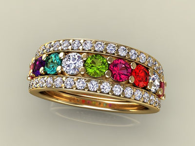 9 Birthstones Mothers Ring Flanked with Fine Diamond* Christopher Michael Design