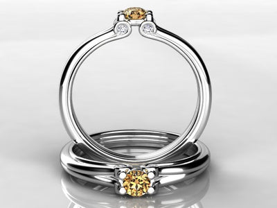 Larger 3.5 mm One Birthstones Mothers Ring by Christopher Michael With Diamond Accent*