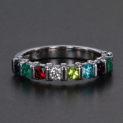 9 Stone Christopher Michael Design Mothers Ring 3mm With Heart Accent* - MothersFamilyRings.com