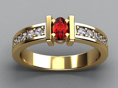 Exquisite One Stone Oval Mothers Ring with Diamonds* Designed by Christopher Michael - MothersFamilyRings.com