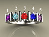 Christopher Michael Designed Five Birthstone Mothers Ring With Ideal Cut Diamonds*