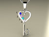 Four Birthstone Key To Hearts Mothers Pendant* Christopher Michael Design