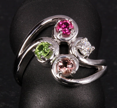 Sterling Silver Flowing Four Stone Mothers Ring*