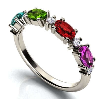 Christopher Michael Designed Ring With Oval Birthstones Set East to West