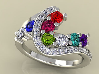 Eight Birthstone Custom Mothers Ring With Ideal Cut Diamonds* by Christopher Michael
